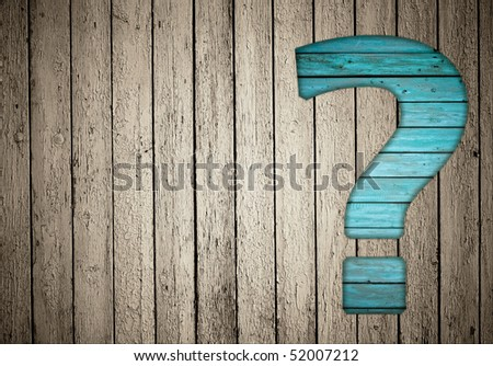question sign on old fence - stock photo