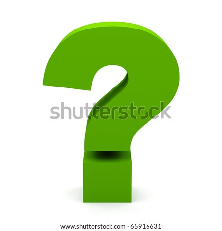 question sign on white - stock photo