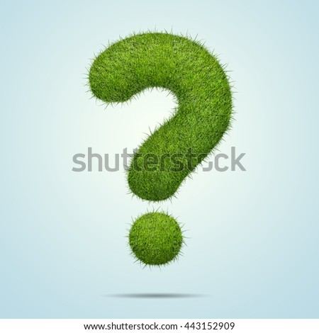 Question sign shape of green grass isolated on blue background