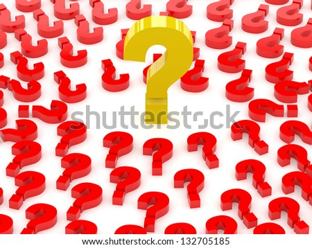 Question sign surrounded by question marks. Concept 3D illustration. - stock photo