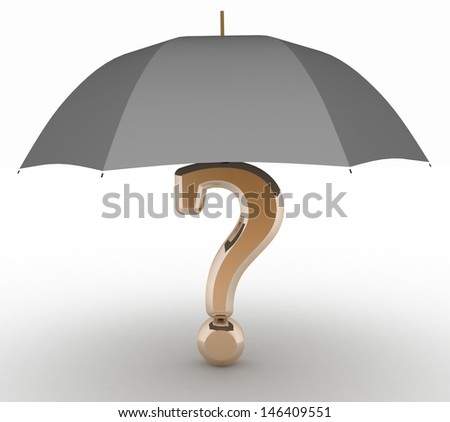 question sign under  umbrella. 3d illustration on white isolated background. - stock photo