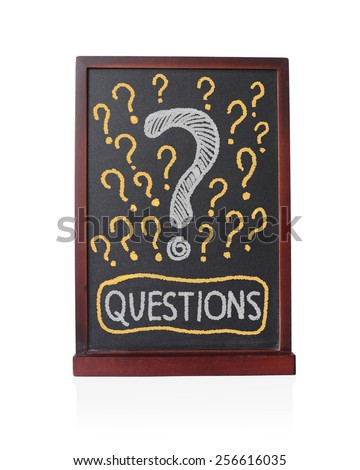 Question signs written on chalkboard isolated object - stock photo