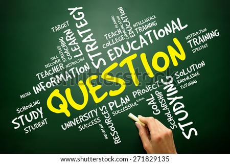 Question word cloud, education concept on blackboard - stock photo