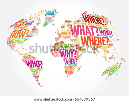 Question words world map typography words ilustracin en stock question words world map in typography words cloud business concept background gumiabroncs Image collections