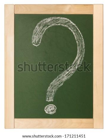 question written on blackboard - stock photo