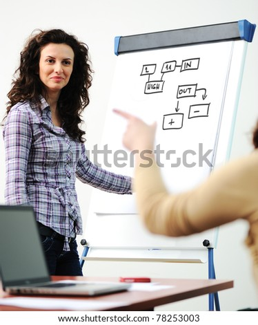 Questioning and answering while business presentation - stock photo