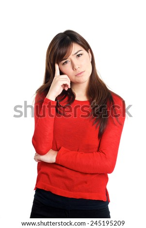 Questioning hand gesture woman in red on white background