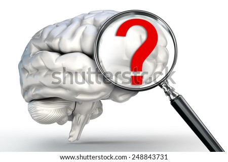 questionmark on magnifying glass and human brain on white background - stock photo