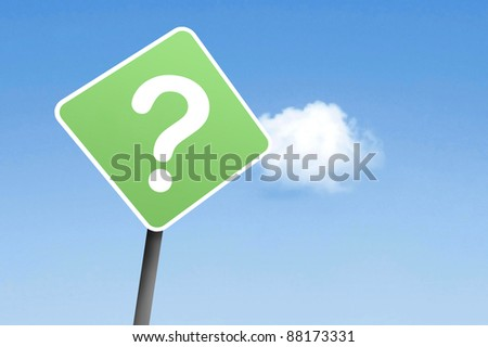 Questionmark on sign - stock photo