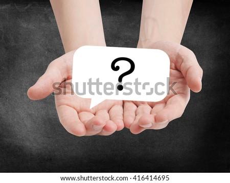 Questionmark written on a speechbubble - stock photo