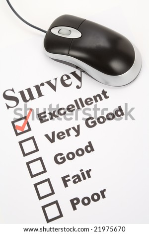 questionnaire and computer mouse, business concept - stock photo