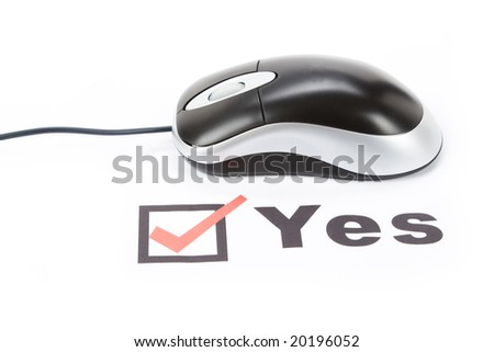 questionnaire and computer mouse, concept of online voting - stock photo