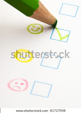 questionnaire check boxes smile, extreme closeup photo - stock photo