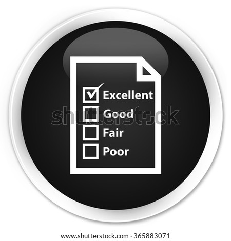 Questionnaire icon black glossy round button - stock photo