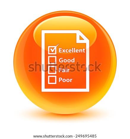 Questionnaire icon glassy orange button - stock photo