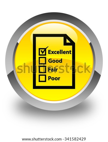 Questionnaire icon glossy yellow round button - stock photo