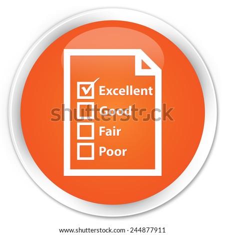 Questionnaire icon orange glossy round button - stock photo