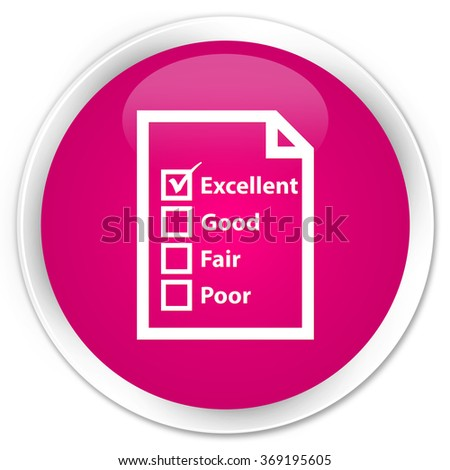 Questionnaire icon pink glossy round button