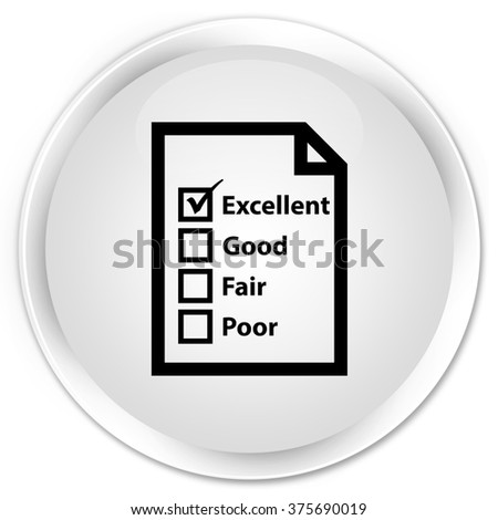 Questionnaire icon white glossy round button - stock photo