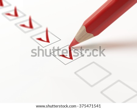 Questionnaire with choices. A lot of checkbox ticked by red pencil. Isolated on white. - stock photo