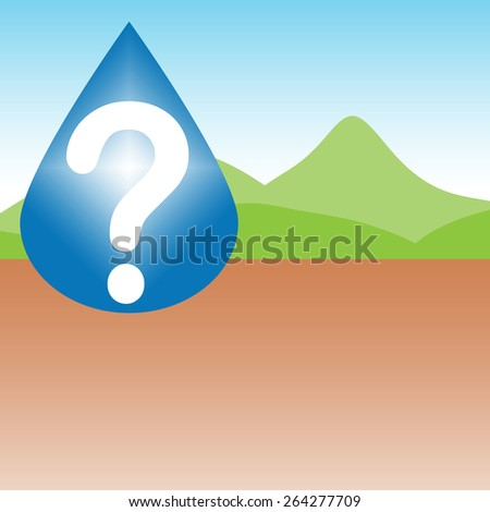 Questions about where water is going to come from. Drought illustration shows dry river or lake and a question mark in a raindrop. Green hills in the background. - stock photo