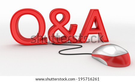Questions and Answers Computer Mouse concept - stock photo