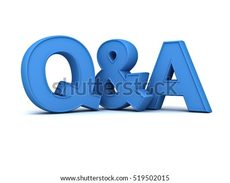 Questions and answers concept blue Q and A text isolated over white background with shadow. 3D rendering.
