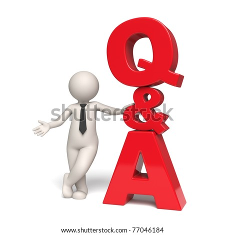 Questions and answers icon with a 3d businessman standing near - Isolated - stock photo