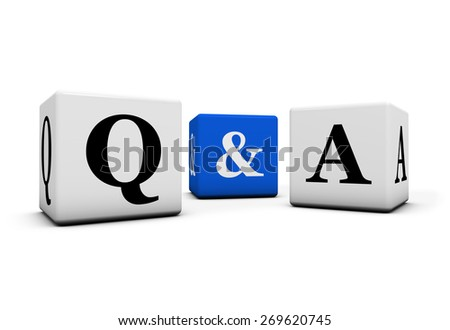 Questions and answers, web faq and business contact center support concept with q and a letter on white and blue cubes isolated on white background. - stock photo