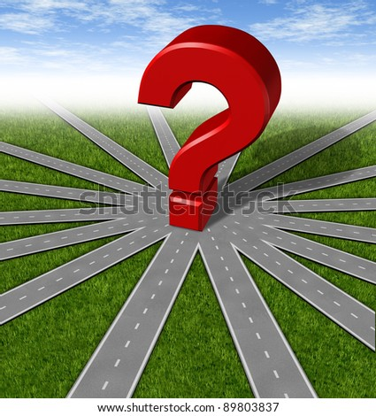Questions and strategies symbol as a network of roads and highways merging to a center point with a red 3d question mark showing many options and paths as difficult choices and questioning decisions. - stock photo