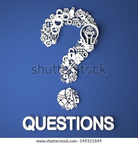 Questions Card Handmade from Paper Characters on Blue Background. 3D Render. Business Concept. - stock photo