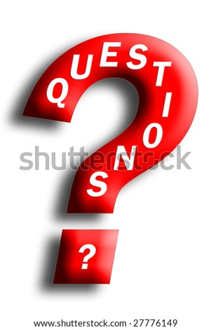 Questions concept embedded in a question mark isolated on white - stock photo