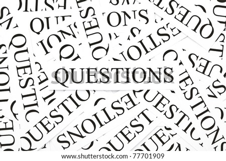 Questions concept. Pattern of many printed paper Questions. - stock photo