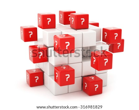 Questions concept with a question mark symbol on the boxes. Isolated on white background - stock photo