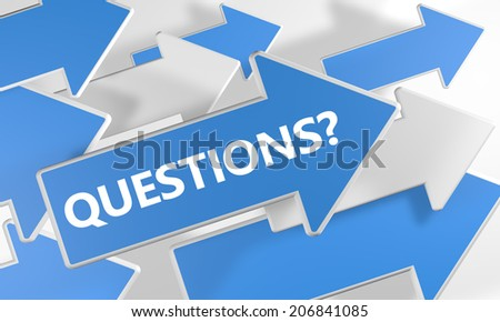 Questions? 3d render concept with blue and white arrows flying over a white background. - stock photo