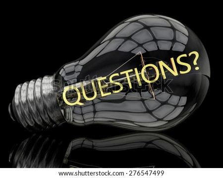 Questions - lightbulb on black background with text in it. 3d render illustration. - stock photo
