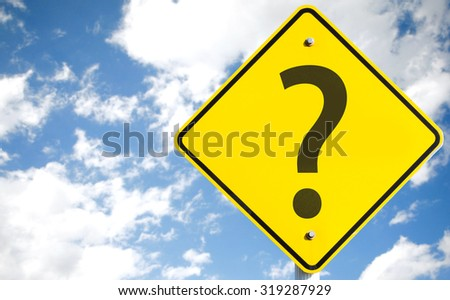 Questions Marks sign with sky background
