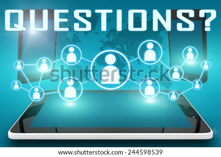 Questions - text illustration with social icons and tablet computer and mobile cellphones on cyan digital world map background - stock photo
