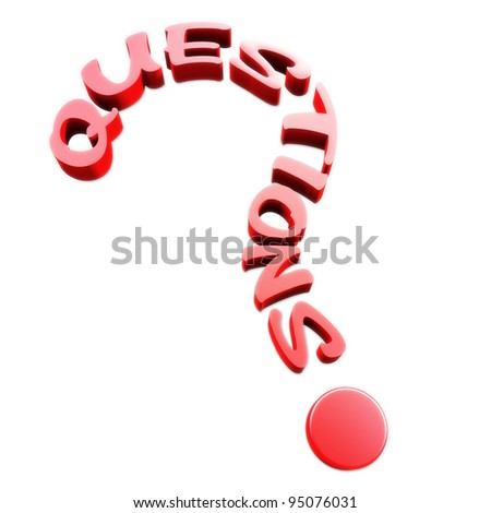Questions text in the form of a question mark - stock photo