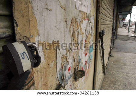 QUETTA, PAKISTAN - FEB 03: Shops are closed during shutter down strike on the call of Baloch Republican Party (BRP) in favor of their demands on February 03, 2012 in Quetta, Pakistan.