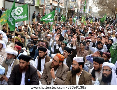 QUETTA, PAKISTAN - FEB 29: Sunni Tehreek are  protesting in favor of Mumtaz Qadri, an ex-police guard who had in January 2011 killed a former governor of Punjab on February 29, 2016 in Quetta.