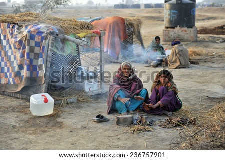 QUETTA, PAKISTAN - JANUARY 25: Flood survivors in relief camp in Quetta, Pakistan on January 25, 2011.
