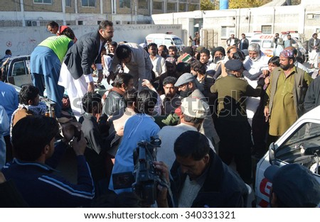 QUETTA, PAKISTAN - NOV 17: Passengers who got injured in Jaffar Express incident are being shifted to Civil Hospital on November 17, 2015  in Quetta.