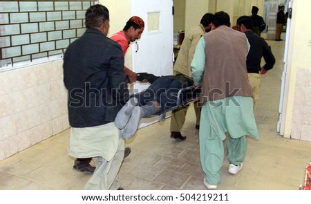 QUETTA, PAKISTAN - OCT 25: Injured police cadets are being shifting to hospital after a  terrorists attack on police training college on October 25, 2016 in Quetta.