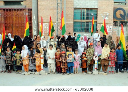 QUETTA, PAKISTAN - OCT 16: Supporters of Balochistan National Party (BNP) are protesting against Killing of Naseer Baloch during a demonstration press club on October 16, 2010 in Quetta.