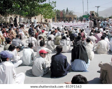 QUETTA, PAKISTAN - SEPT 25: Members of Hazara Community gather as they are  against terrorism and target killings in Balochistan at Musa check-post on September 25, 2011in Quetta.