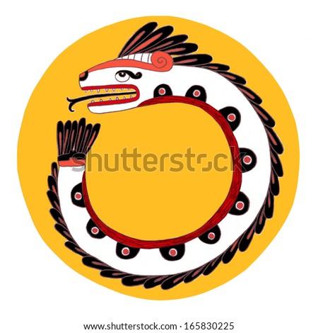 quetzalcoatl, sacred god of ancient mexican culture - stock photo