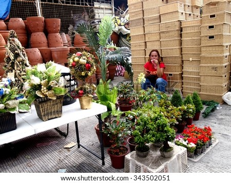 QUEZON CITY, PHILIPPINES - NOVEMBER 22, 2015: A woman sells decorative plants, flowers, christmas decors and baskets in Dapitan Market. This market is known for its wide variety of home products. - stock photo