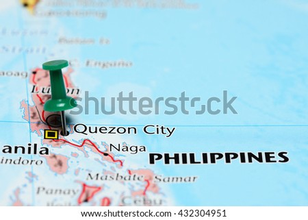 Quezon City pinned on a map of Philippines