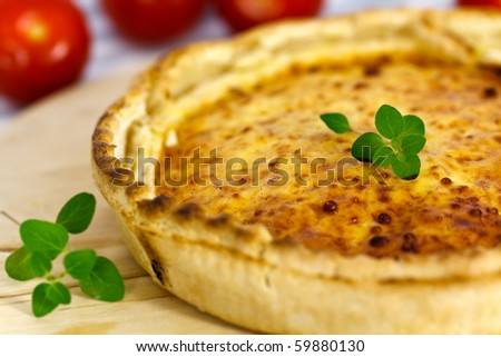 Quiche Lorraine on the cutting board